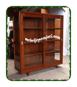 Lemari buku kaca pintu sliding door minimalis